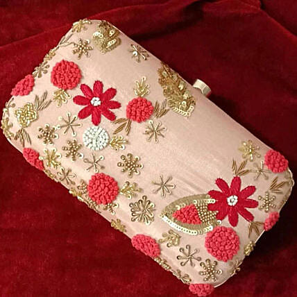 Customised Baby Pink Clutch 8 X 4 cms:Handbags and Wallets Gifts