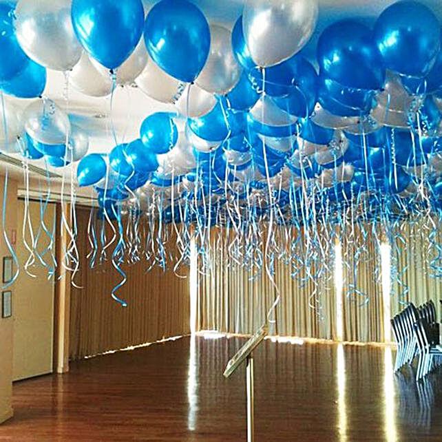Blue and Silver Balloon Decor:Room Decoration Ideas