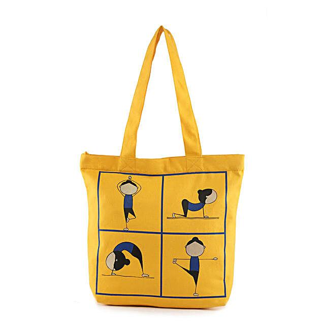 Yoga Pose Printed Solid Tote-Yellow:Tote Bags