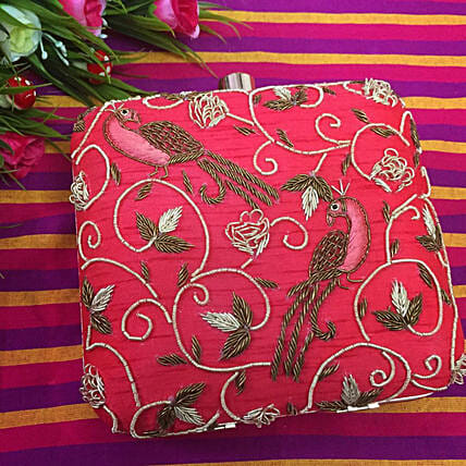 Customised Tomato Red Clutch Bag6.5 X 6 cms