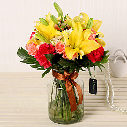 Online Mix Flowers In Fishbowl Vase:All Flowers