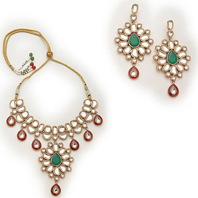Online Mirror Kundan Gold Plated Jewellery Set