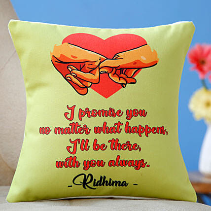 promise day quote printed cushion:Send Promise Day Gifts