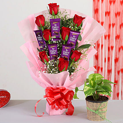 Red Roses Bunch With Money Plant Chocolates