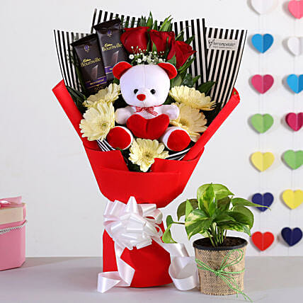 Special Bouquet With Teddy Money Plant