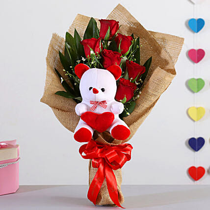 Bunch Of 6 Red Roses With Teddy Bear
