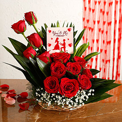 Red Roses Arrangement With You Me Forever Table Top