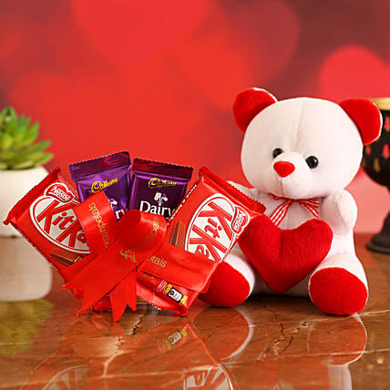 Valentines Special Chocolates & Teddy Bear for Her:Teddy Day Soft Toys