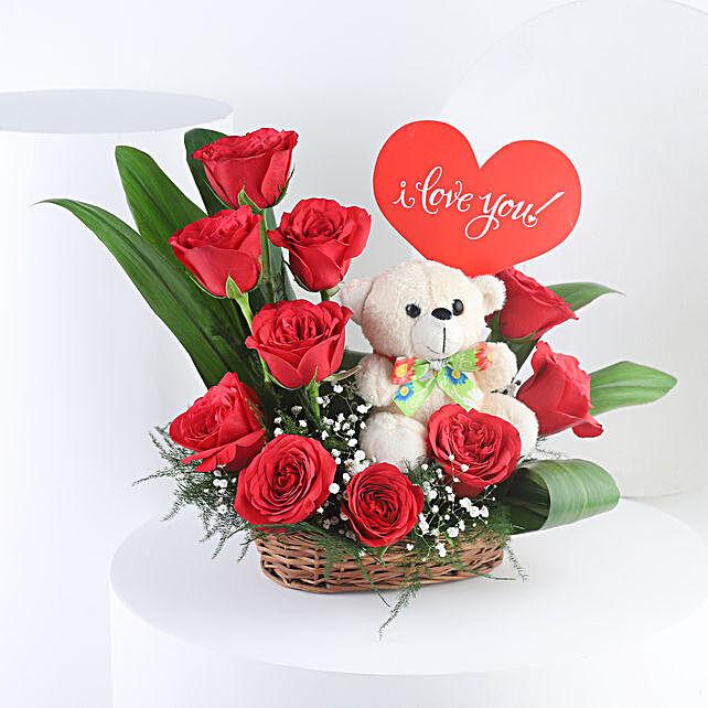 flowers n teddy arrangement for anniversary online