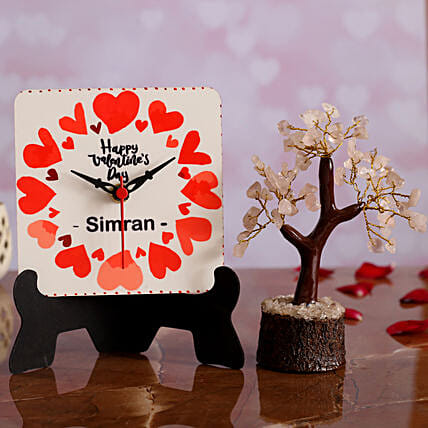 Happy V Day Personalised Table Clock Wish Tree