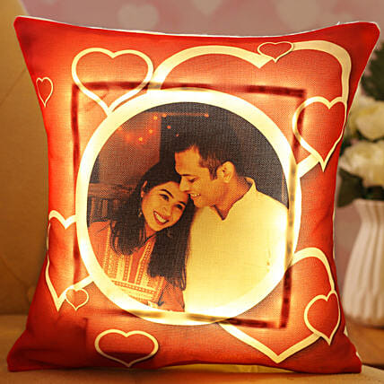 Personalised Hearts Love LED Cushion