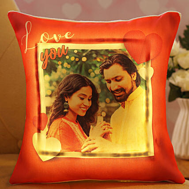 Personalized V Day LED Cushion:Wedding Personalised Gifts
