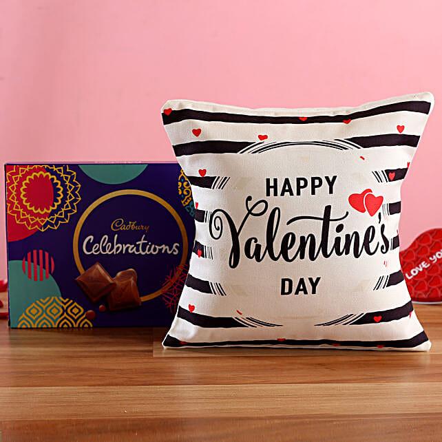 V Day Striped Cushion Cadbury Celebrations Box
