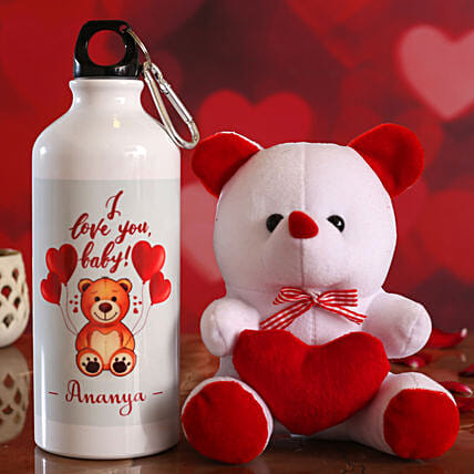 I Love You Baby Personalised Bottle and Teddy Hand Delivery