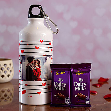 V Day Personalised Bottle and Cadbury Dairy Milk Hand Delivery