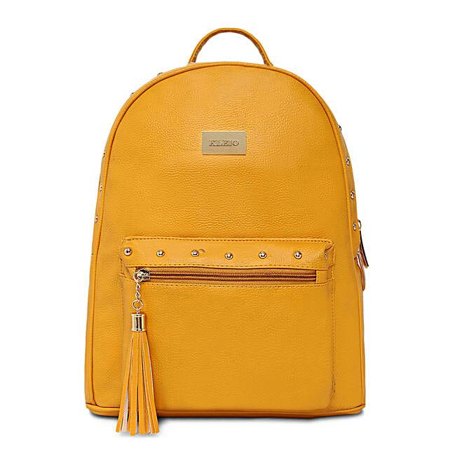 elegant mustard pu backpack online