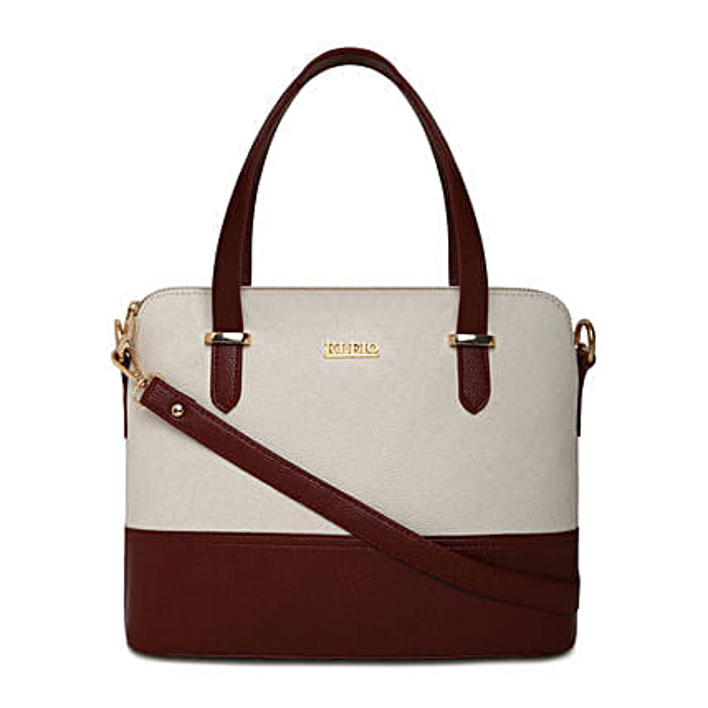 Online KLEIO PU Leather Twin Colour Hand Bag Purse For  Girls Women Ladies (Dark Brown::White) (HO9003KL-DBWH)