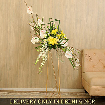 Bunch Of Beautiful Flowers With Iron Stand