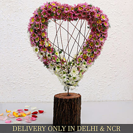 Heart Shaped White And Pink Daisies Arrangement