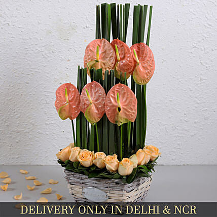 Pink Anthurium And Peach Roses Arrangement In Cane Basket
