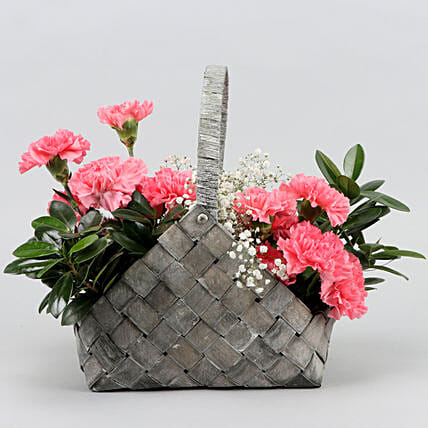 Pink Carnations In Handle Basket