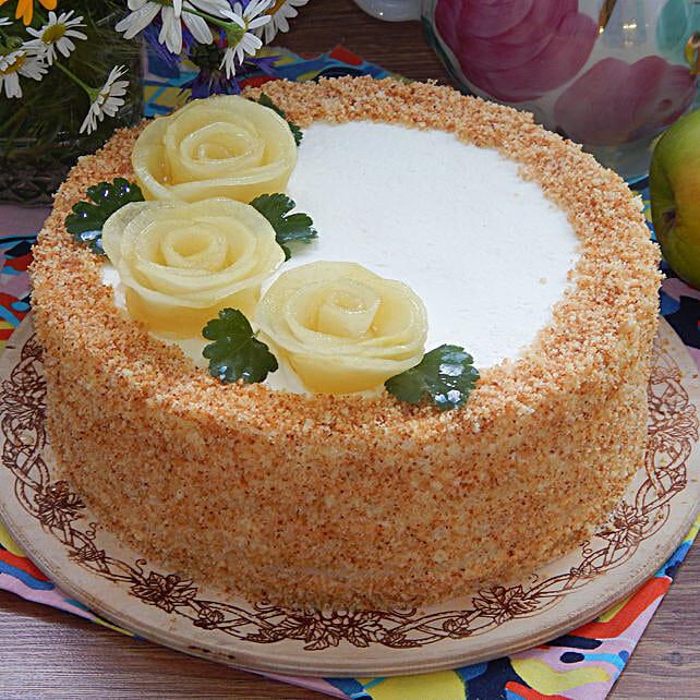 Roses On Top Pineapple Designer Cake:Send Pineapple Cakes