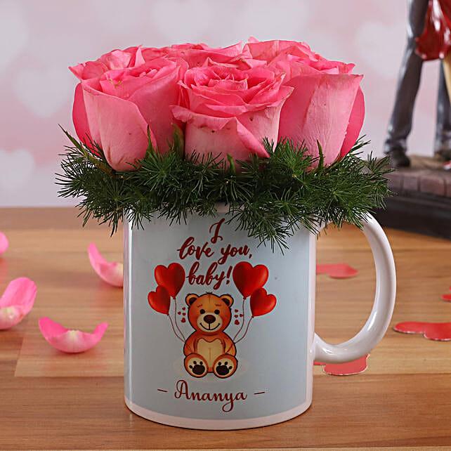 Pink Roses In Personalised V-Day Mug