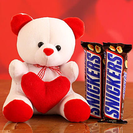 Online Chocolate With Red & White Teddy:Soft toys for Propose Day