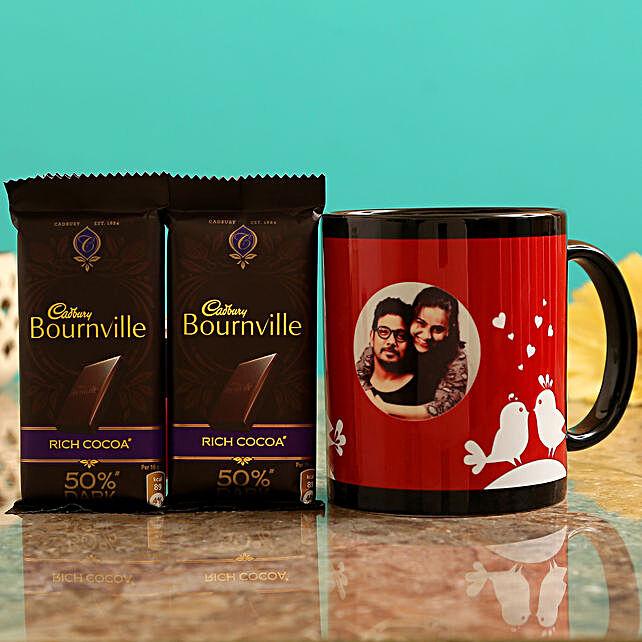 Customized Couple Photo  Mug and Cadbury Bournville Chocolates