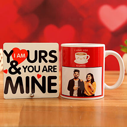 Customised Couple Photo Mug and You Are Mine Table Top