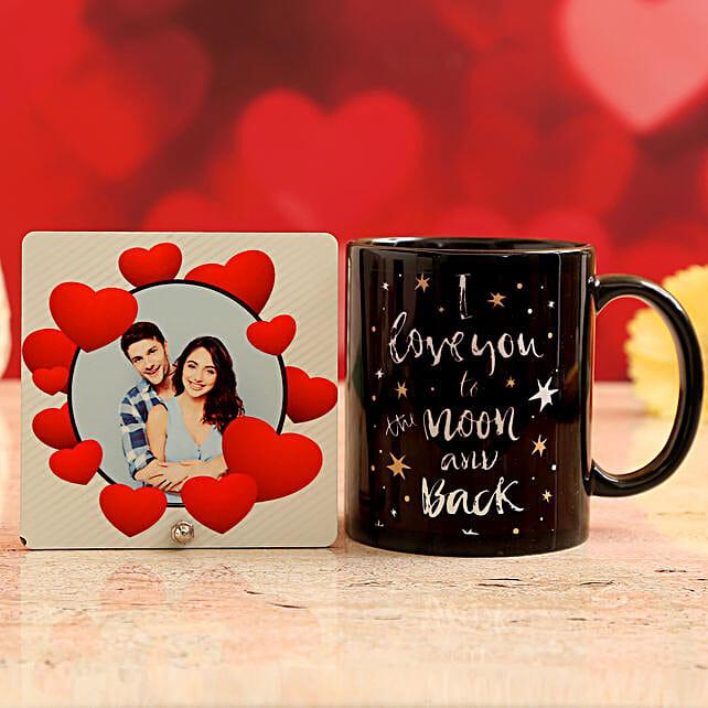 Customised Couple Photo Table Top and I Love You Mug