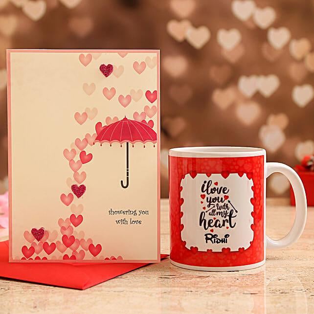 Customised Name Mug and Love Umbrella Card