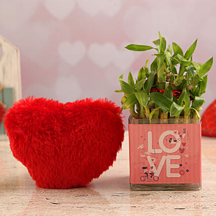 Two Layer Bamboo Plant In Love Vase & Red Heart