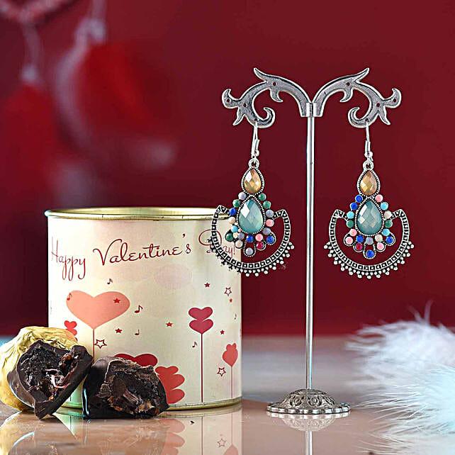 jewellery n chocolate hamper online:Earrings