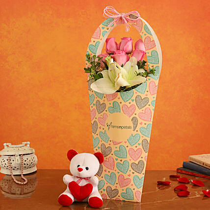 Mixed Flowers In FNP Heart Sleeve and Cute Teddy