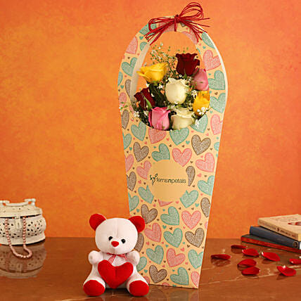 Mixed Roses In FNP Heart Sleeve and Cute Teddy