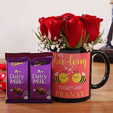 Red Roses In Personalised Mug and Cadbury Dairy Milk:Flowers And Chocolate Delivery