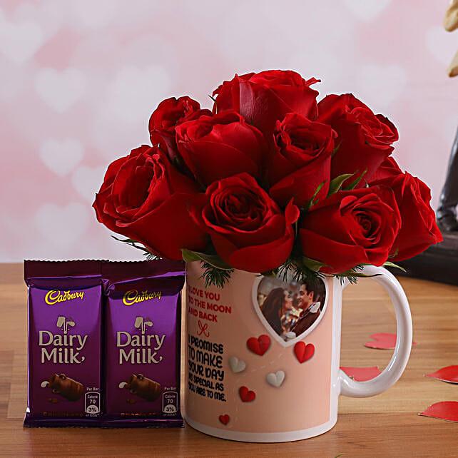 Red Roses In Personalised Photo Mug and Cadbury Dairy Milk