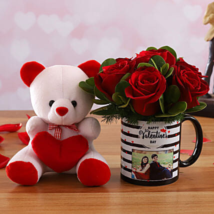 Red Roses In Personalised Photo Mug and Cute Teddy
