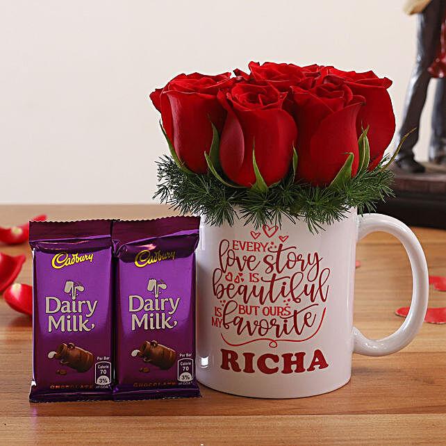 Red Roses In Personalised V Day Mug and Cadbury Dairy Milk