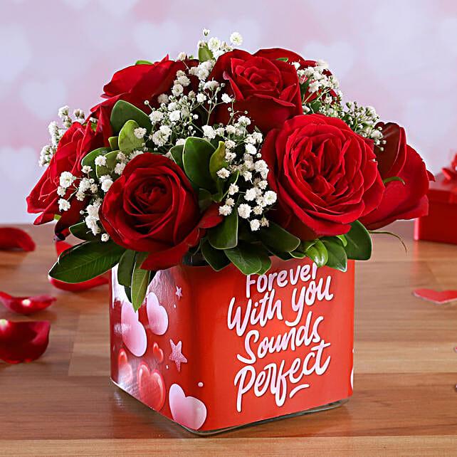 lovely roses arrangement for valentine