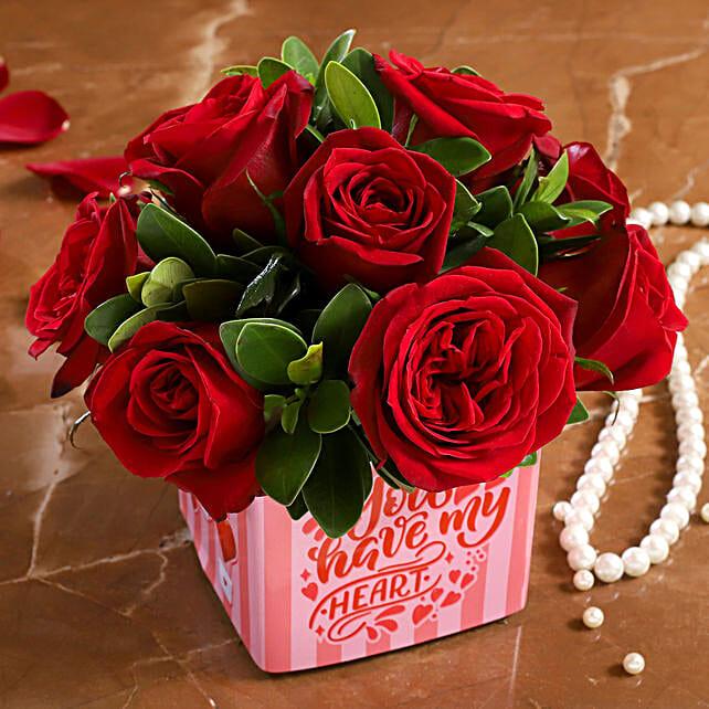 rose in vase arrangement for vday