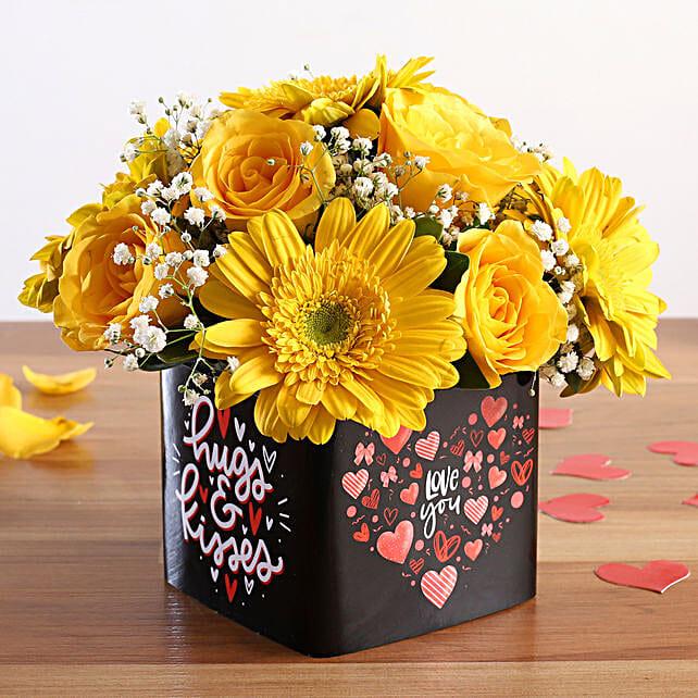 rose n gerberas arrangement for valentine