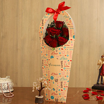 Red Roses In FNP Love Sleeve Wish Tree:Send Gifts For Kiss Day