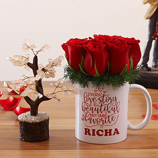 Red Roses In Personalised Name Mug Wish Tree