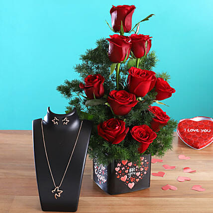 Roses In Love You Vase Pretty Necklace Set