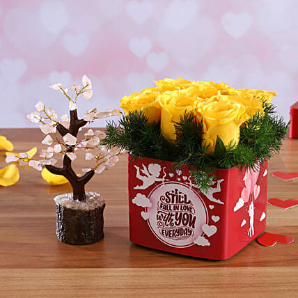 Yellow Roses In Sticker Vase Wish Tree