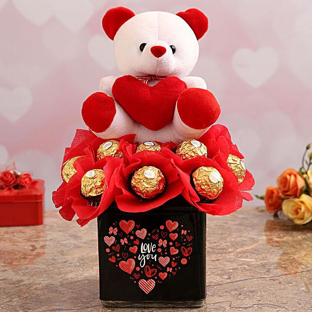 Cute Teddy with Ferrero Chocolates