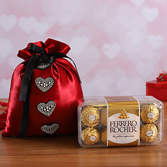 Ferrero Rocher Box In Cherry Red Potli Online