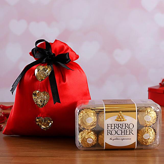 Ferrero Rocher Box In Pink Satin Potli Online